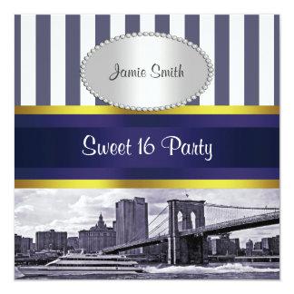 NYCのスカイラインのブルックリン橋、ボートの青い重量の菓子16 13.3 スクエアインビテーションカード