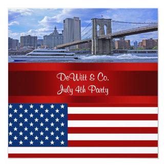 NYCのスカイラインのBklyn橋米国の旗赤いWの青いパーティー 13.3 スクエアインビテーションカード