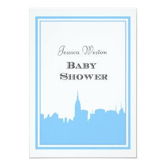 NYCのスカイラインのLt Blue Silhouette #2 DIYのベビーシャワー 12.7 X 17.8 インビテーションカード
