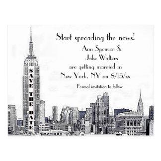 NYCのスカイラインは日付01保存をエッチングしました ポストカード