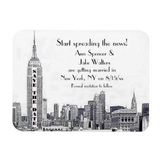 NYCのスカイラインは日付01保存をエッチングしました マグネット