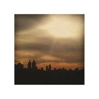 """NYCのスカイラインは照るように、""""日曜日が""""木製の芸術でしました ウッドウォールアート"""