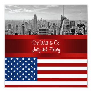 NYCのスカイライン米国の旗の赤白青のパーティー 13.3 スクエアインビテーションカード