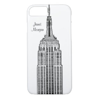 NYCのスカイライン-エンパイア・ステート・ビルディングは一見をエッチングしました iPhone 8/7ケース