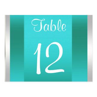 NYCのスカイラインBW 05の白のティール(緑がかった色)のテーブル数カード ポストカード