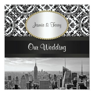 NYCのスカイラインBW 431のダマスク織の結婚式招待状2 カード