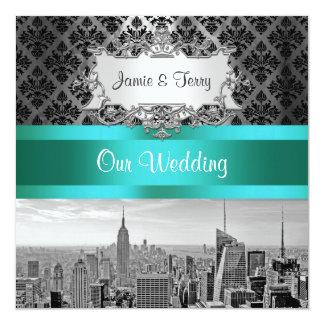NYCのスカイラインBW B3のダマスク織の結婚式招待状F2 13.3 スクエアインビテーションカード