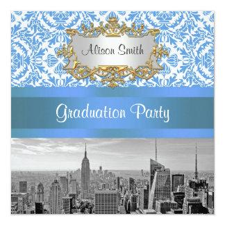 NYCのスカイラインBw D4のダマスク織の卒業パーティーの招待 13.3 スクエアインビテーションカード