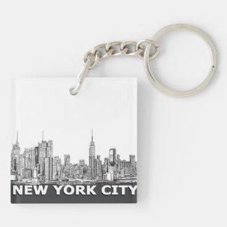 NYCのモノクロスカイラインの文字 キーホルダー