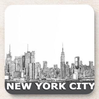 NYCのモノクロスカイラインの文字 コースター