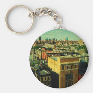 NYCのレトロのスタイルのスカイラインによって変えられる写真のkeychain キーホルダー