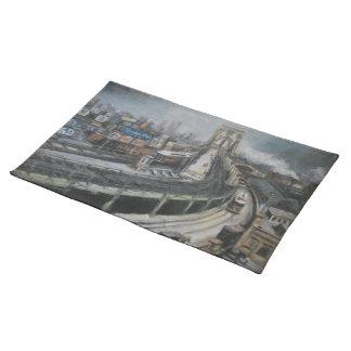 NYCのヴィンテージのブルックリン橋の絵画 ランチョンマット