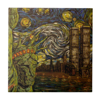 NYCの星明かりの夜: ツインタワー(本当タワー) タイル