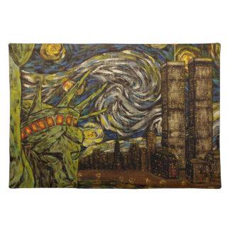NYCの星明かりの夜: ツインタワー(本当タワー) ランチョンマット