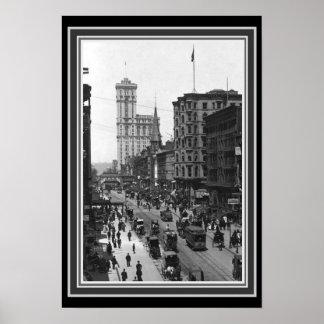 NYCの1910年のヴィンテージB&Wの写真13 x 19 ポスター