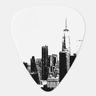 NYCニューヨークのヴィンテージの白黒のイメージカバー ギターピック