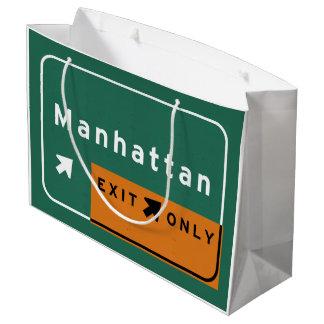 NYCマンハッタンの出口の州間幹線道路の高速道路の道 ラージペーパーバッグ