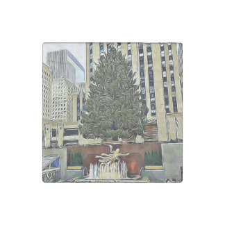 NYCロックフェラーの中心のクリスマスツリーの磁石 ストーンマグネット