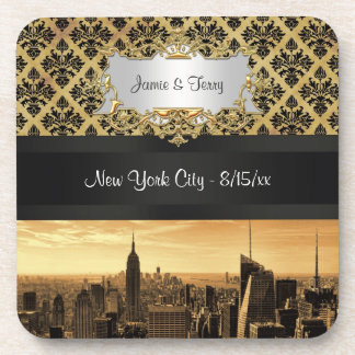 NYC|スカイライン|セピア色|B5|Blk|肋骨|ダマスク織|コースター ビバレッジコースター
