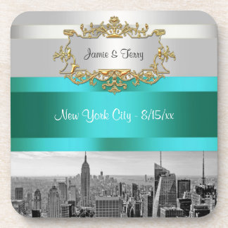 NYC|スカイライン|BW|05|白い|ティール(緑がかった色)|招待|続き 飲み物コースター