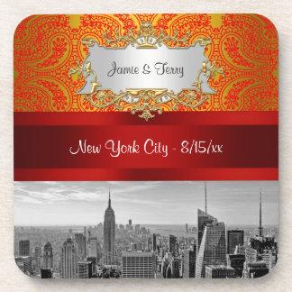 NYC|スカイライン|BW|112|赤い|金ゴールド|ペイズリー 飲み物コースター