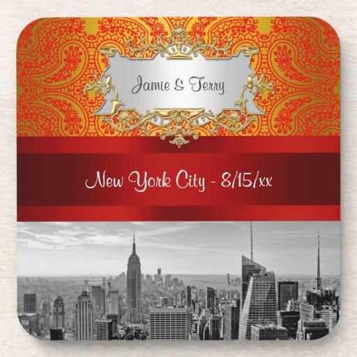 NYC|スカイライン|BW|112|赤い|金ゴールド|ペーズリー 飲み物コースター