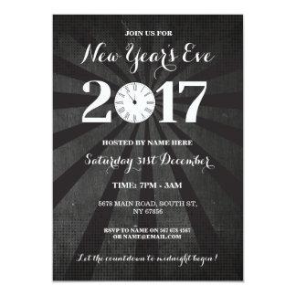 NYEの新年年のイブのパーティーの黒の時計の招待 カード