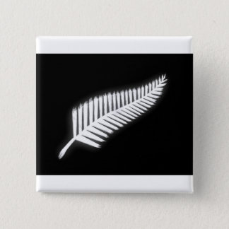 NZの銀製シダの国章の愛国心が強いボタン 5.1CM 正方形バッジ