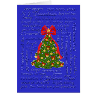Oのクリスマスツリーカード、O Tannenbaumのキャロル、叙情詩 カード