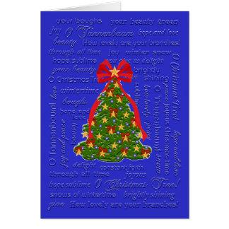 Oのクリスマスツリーカード、O Tannenbaumのキャロル、叙情詩 グリーティングカード