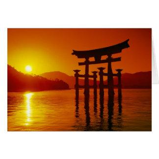 O-Toriiのゲート、Itsukushimaの神社、宮島、 カード