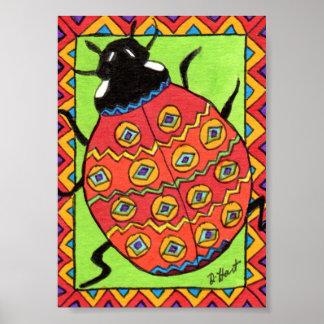 Oaxacanのてんとう虫の小型メキシコ民芸 ポスター