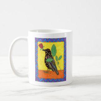 Oaxacanのカラス及び赤いバラのメキシコ民芸 コーヒーマグカップ