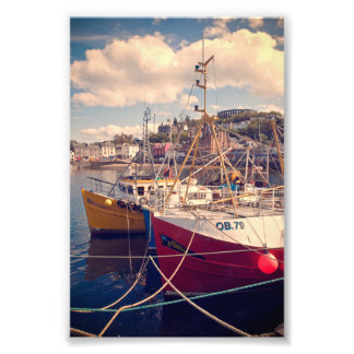 Obanで縛りつけられる漁船 フォトプリント