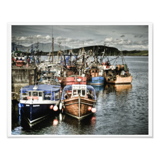 Oban港の漁船 フォトプリント