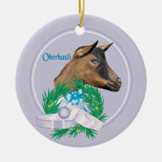 Oberhasliのヤギのリースの休日のオーナメント セラミックオーナメント