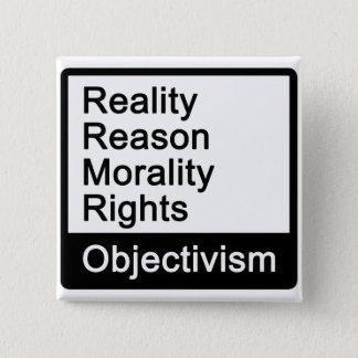 Objectivismは何ですか。 ボタン 5.1cm 正方形バッジ