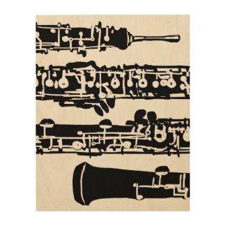"""Oboeの木製のパネル  11"""" x 14"""" ウッドウォールアート"""