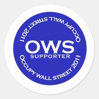Occupy wall streetサポータボタンのステッカー ラウンドシール