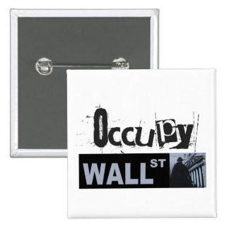 Occupy wall streetボタン 5.1cm 正方形バッジ