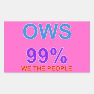 Occupy wall street 99%私達人々 長方形シール