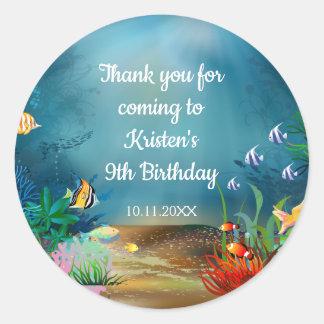 Ocean Reef Under the Sea Birthday Party ラウンドシール