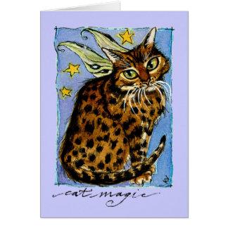 Ocicat猫の魔法の誕生日の挨拶またはメッセージカード カード