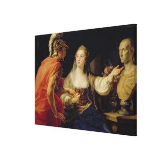 Octaviusにジュリアスのバストを示しているCleopatra キャンバスプリント