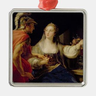 Octaviusにジュリアスのバストを示しているCleopatra メタルオーナメント