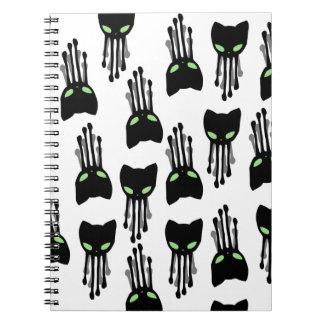 Octo猫タコ猫黒tenticlesパターン ノートブック