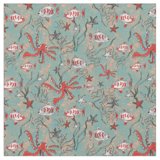 Octopus and Fish Fabric in Coral and Blue ファブリック