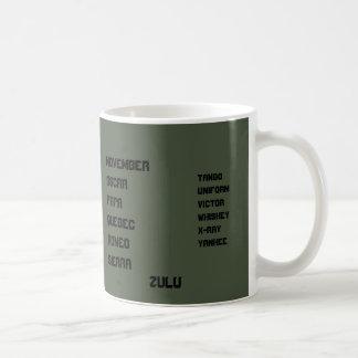 OD緑NATOのアルファベット コーヒーマグカップ
