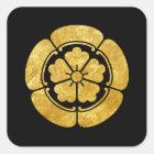 Oda月曜日の黒の日本のな武士の一族の模造のな金ゴールド スクエアシール