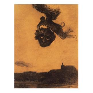 Odilon Redon-の悪魔は空気の頭部を取ります ポストカード